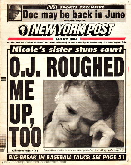 NY Post Headline 1995 OJ Trial Denise Brown