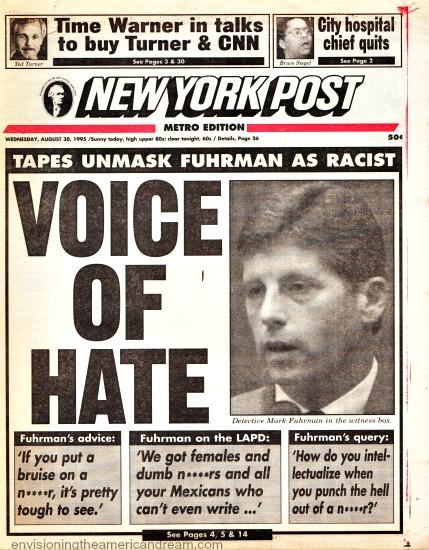 NY Post headline 1995 OJ Trial Fuhrman Racist