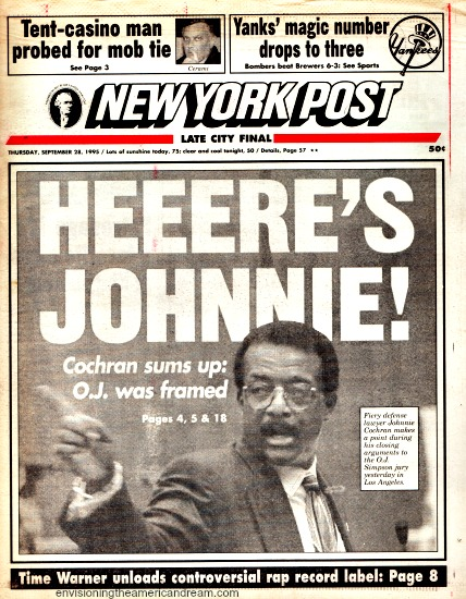 OJ Trial Johnnie Cohran NY Post headline 1995