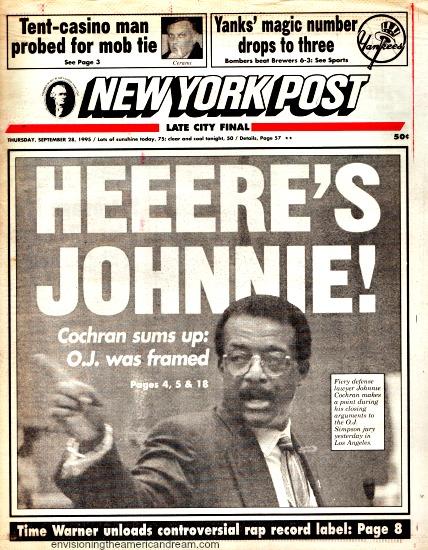 OJ Trial Johnnie Cohran NY Post headline 1995