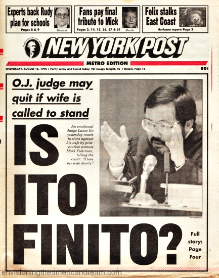 NY Post headline OJ Trial Judge Ito 1995