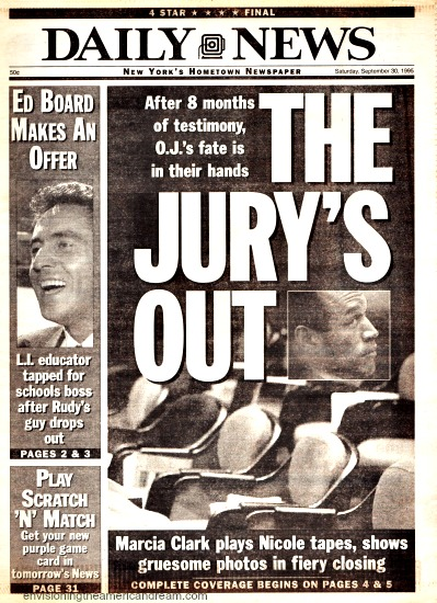 OJ Trial Jury Out Daily News Headline 1995