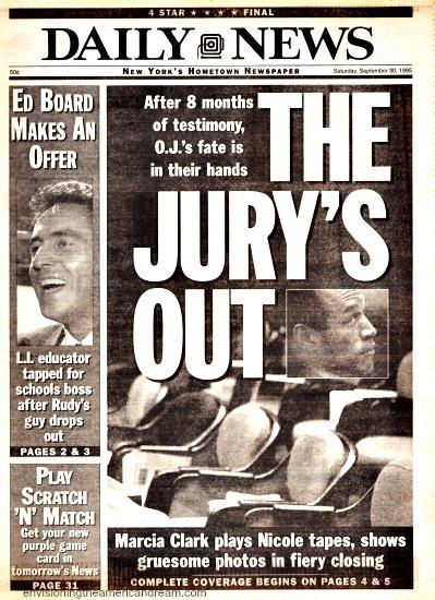 OJ Trial Jury Out Daily News Headline 1995