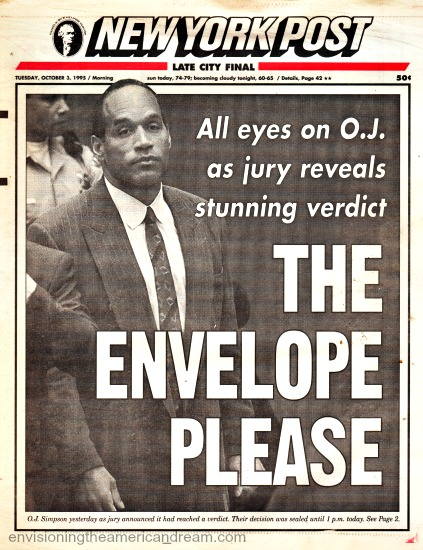 OJ Trial Jury Out NY Post headline 1995