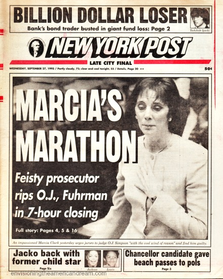 NY Post headline 1995 OJ Trial Marcia Clark