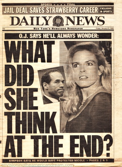 OJ Trial Nicole Simpson Daily News headline