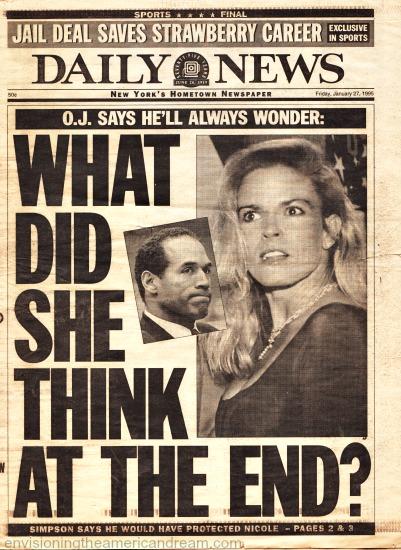 OJ Trial Nicole Simpson Daily News headline
