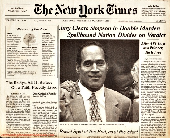 OJ Trial Not Guilty NY Times headline 1995