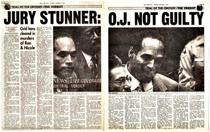 OJ Trial Not Guilty article NY Post 1995
