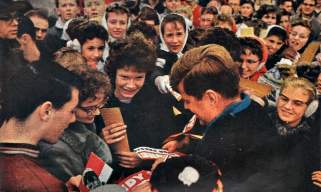 John Kennedy campaigning Wisconsin primary 1960