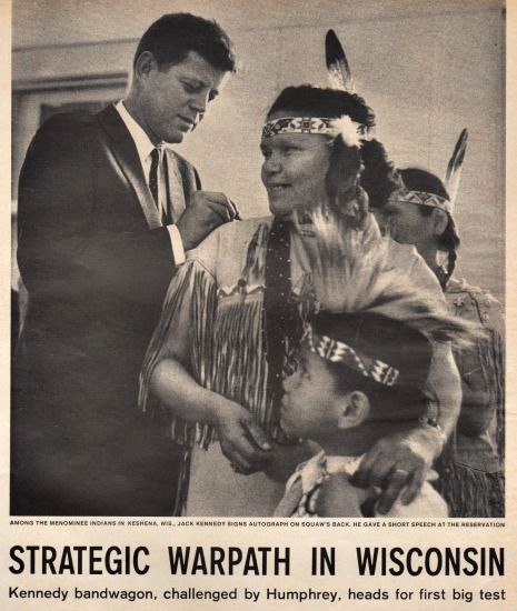 Kennedy and Indian woman Wisconsin primary 1960