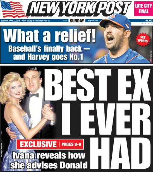 NY Post Headline Ivana Trump 2016