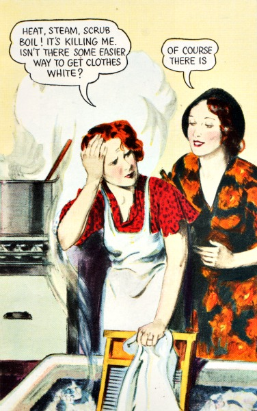 Vintage illustration 1930s women doing laundry