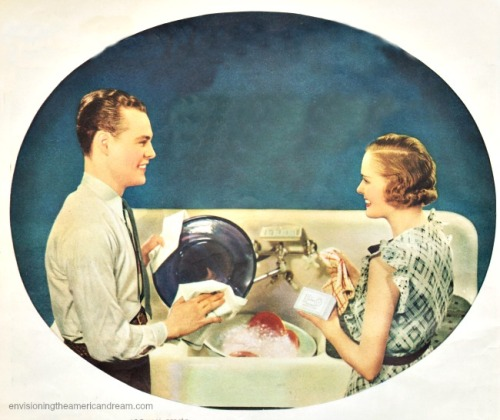 Vintage ad P&G Soap 1934 Husband Wife wshing dishes