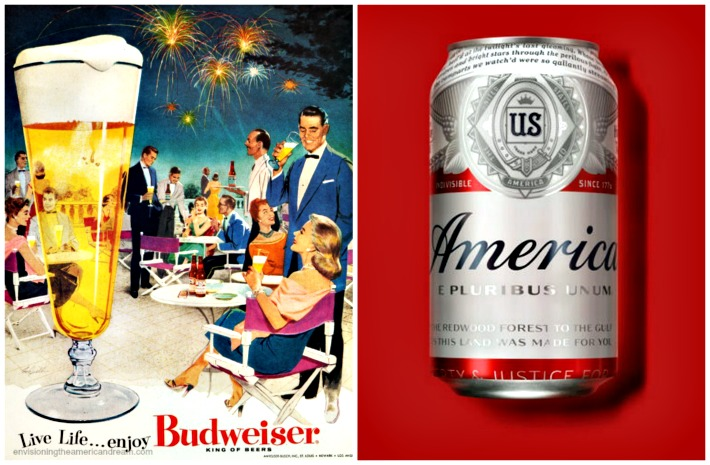 collage vintage Budweisr ad and new America Beer Can