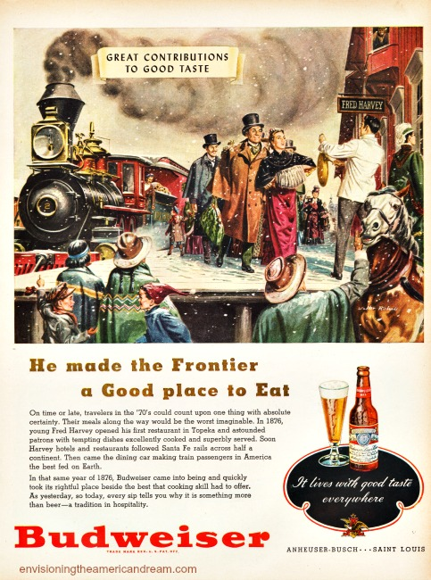 Vintage Budweiser Beer ad Contributions to Good Taste Fred Harvey