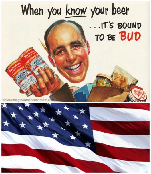 Beer Budweiser patriotic American Flag
