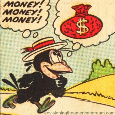 vintage comics crow dreaming of money