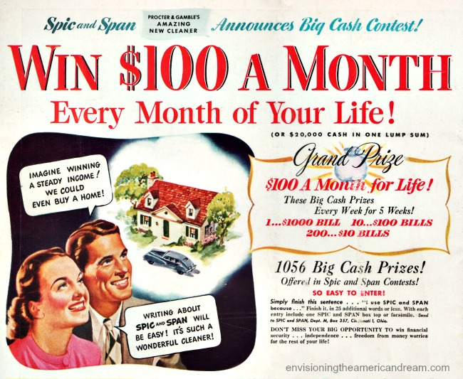 Vintage ad contest win money 1940s