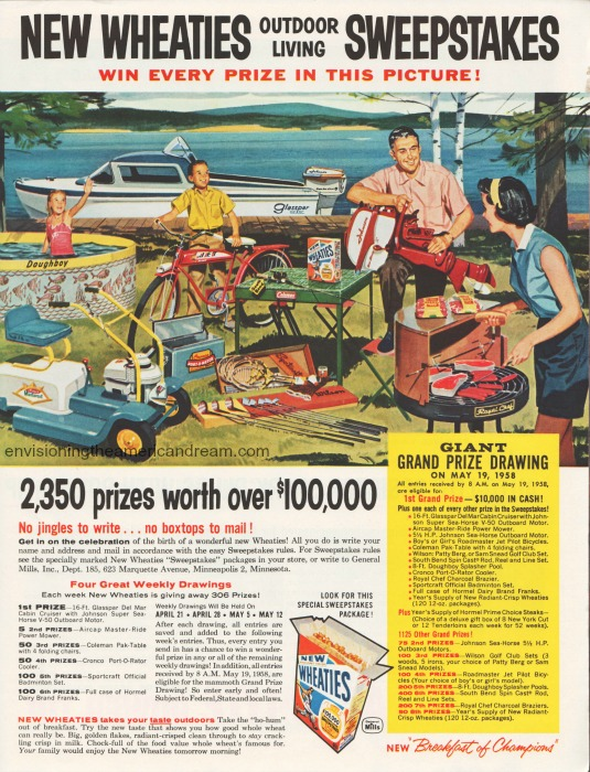 American abundance illustration Wheaties Sweepstakes 1958