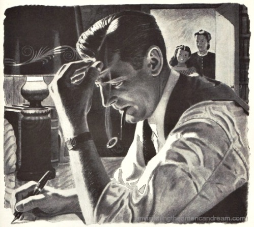 vintage illustration man writing at table