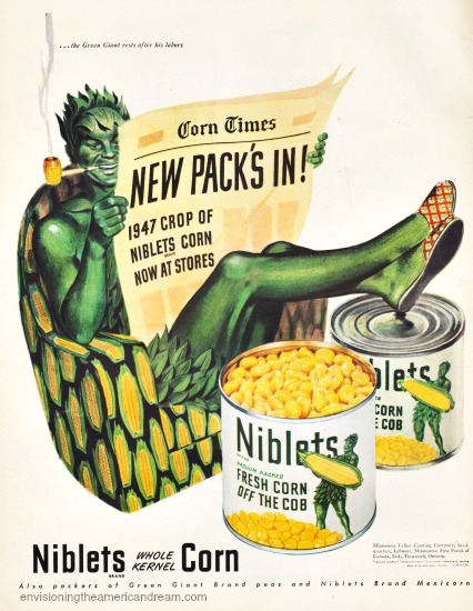 vintage ad Green Giant corn illustration Green Giant sitting in chair