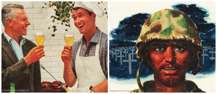 collage Vintage 60s 2 men toasting Memorial Day Barbecue and vintage illustration WWII soldier