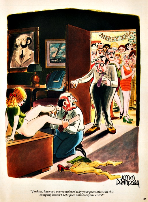playboy cartoon office party sexist