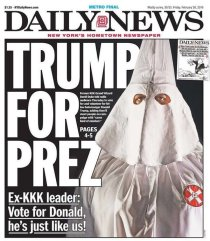 NY Daily News Headline KKK Leader Supports