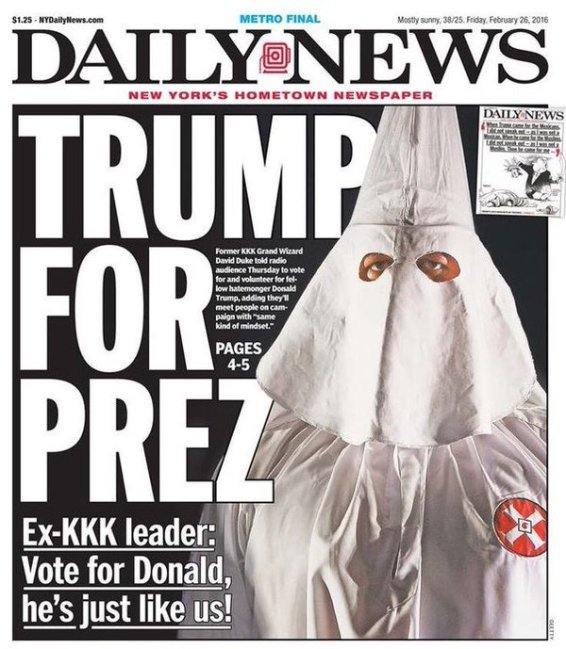 NY Daily News headline 2/26/16 KKK leader endorces Trump