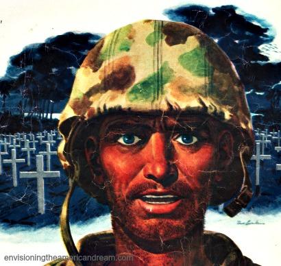 Vintage illustration WWII Soldier