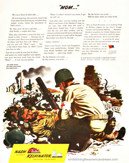 WWII vintage ad Nash kelvinator illustration 2 soldiers army medic