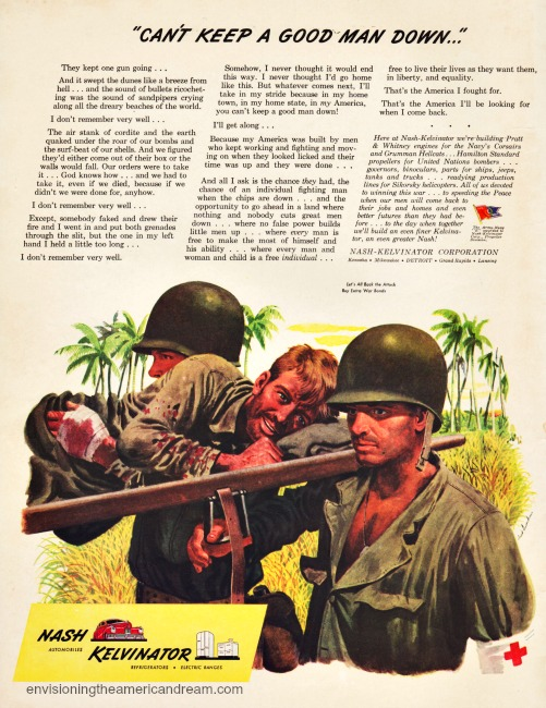 vintage ad wwII nash kelvinator illustration soldiers