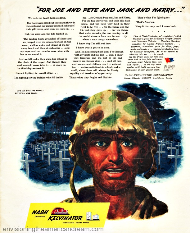 WWII Ad illustration of a soldier in cemetary Nash Kelvinator ad 1944