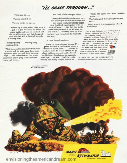 WWII vintage ad Nash Kelvinator illustration marine