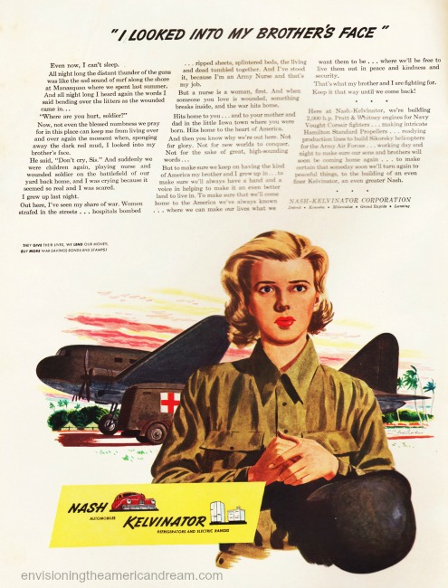 WWII vintage ad Nash Kelvinator illustration army nurse