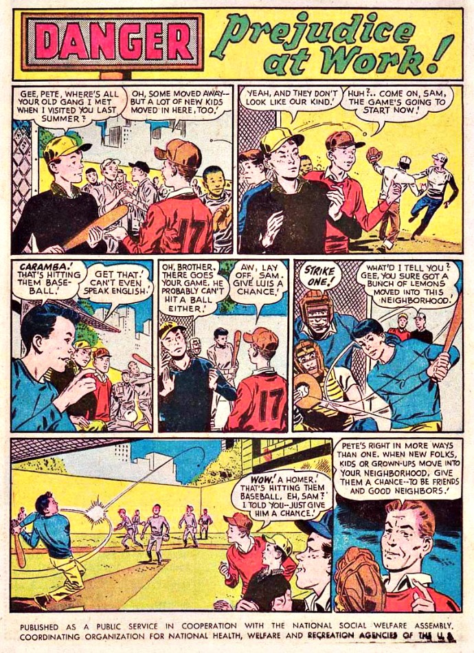 comics Prejudice at work 1957 Blackhawk comics