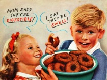 vintage image children eating donuts