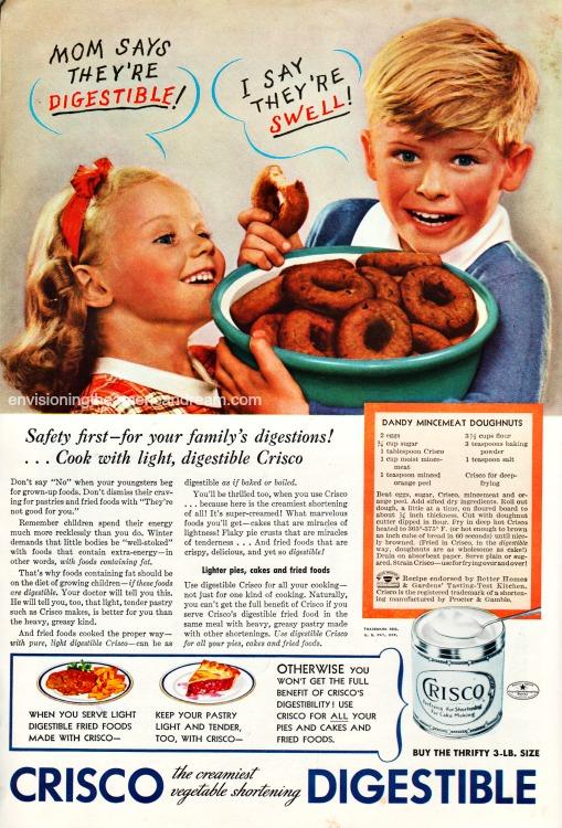 Vintagce ad Crisco children eatng doughnuts