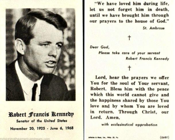 Kennedy RFK Memorial card