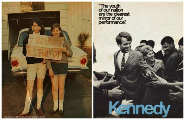 Peersonla picture author as teen with Robert Kennedy For President Poster RFK campaign poster