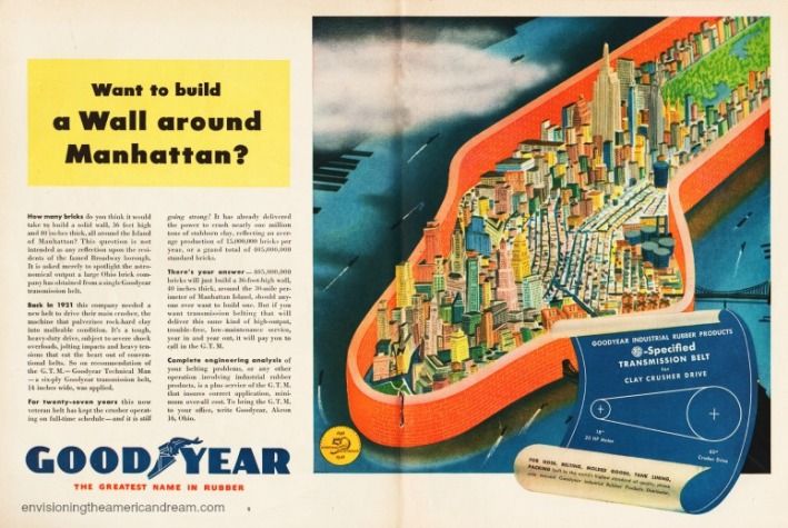 Vintage ad 1948 Goodyear illustration Manhattan walled