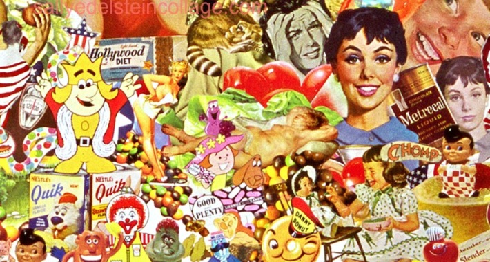 Detail Collage- Constant Cravings by Sally Edelstein. Collage composed of appropriated vintage images