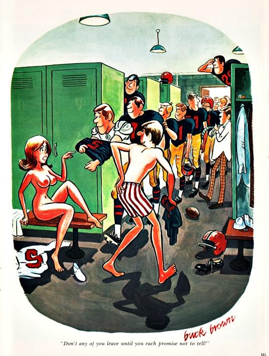 vintage Playboy cartoon Sex college football players