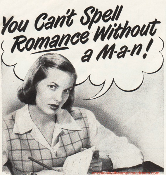 vintage ad Secretary You Cant Spell Romance Without a Man
