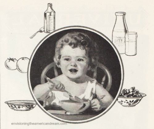 vintage 1920s child eating