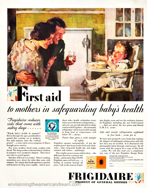 Vintage ad Frigidaire 1926 illustration parents and baby in kitchen