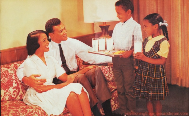 Vintage photo African American Family at Home 1960's