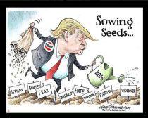 political cartoon Trump garden