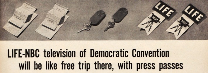 Vintage ad for Life NBC television of the Democratic Convention 1948
